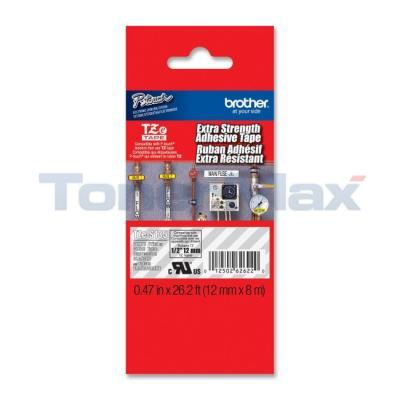 BROTHER TZ LAMINATED TAPE WHITE ON CLEAR 12 MM X 8 M 